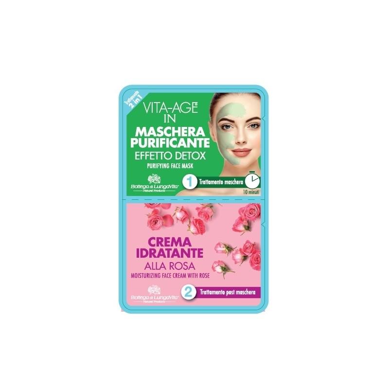 TRATTAMENTO VISO 2 in 1 maschera detox  + crema alla rosa